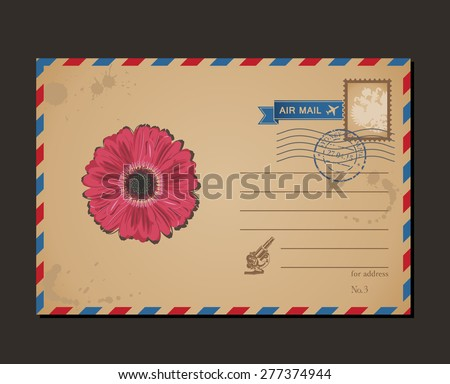 Vintage postcard and postage stamps. Design flower envelope pattern and letters - stock vector