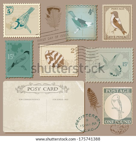 Vintage Postcard and Postage Stamps with Birds - for wedding design, invitation, scrapbook - stock vector