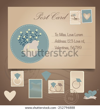 Vintage postcard background and Postage Stamps - for wedding card design, invitation card design, congratulation card design, scrapbook design - stock vector