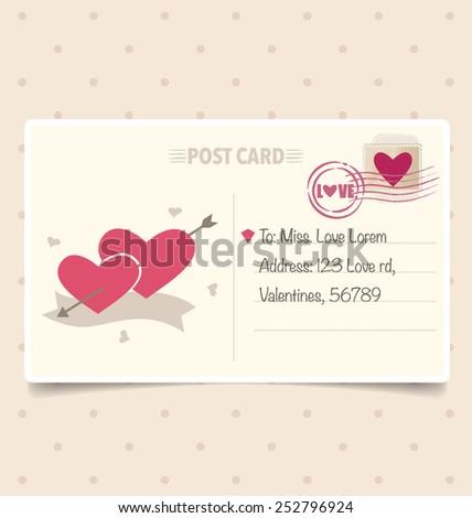 Vintage postcard background and Postage Stamps - for wedding card design, invitation card design, congratulation card design, scrapbook design - stock vector
