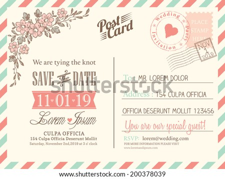 Vintage postcard background vector template wedding stock photo vintage postcard background vector template for wedding invitation stopboris Choice Image