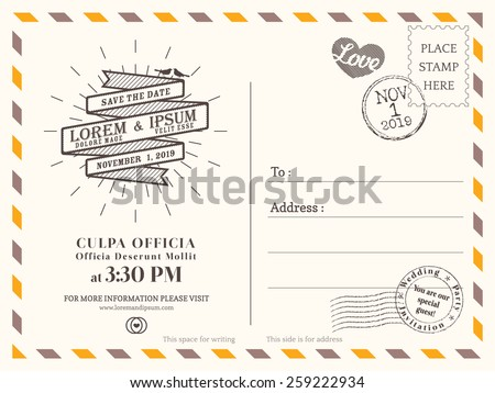 Vintage postcard background vector template for wedding invitation - stock vector