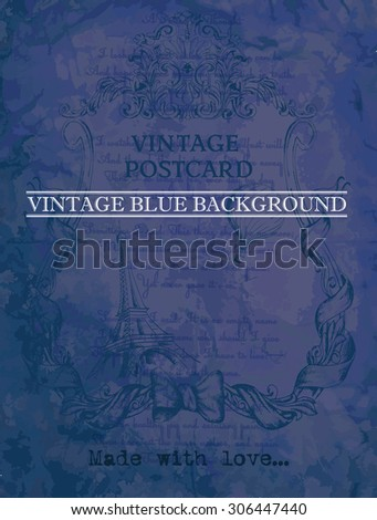 vintage postcard blue background with classic frame - stock vector