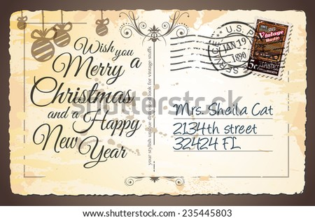 Vintage postcard christmas greetings cards postage stock vector vintage postcard for christmas greetings cards with postage stamps and festive text with fake address m4hsunfo