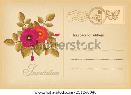 vintage postcard invitation - stock vector