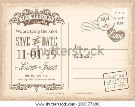 Vintage postcard save the date background for wedding invitation - stock vector