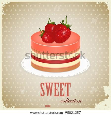 vintage postcard - Sponge Cake with Strawberry - vector illustration - stock vector