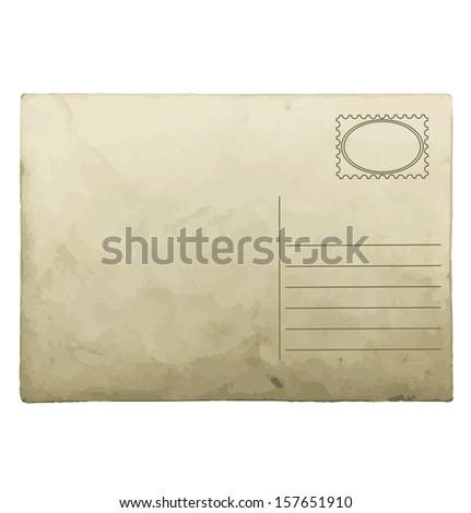 Vintage postcard template. - stock vector