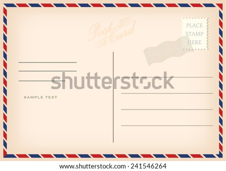 Vintage postcard, vector design - stock vector