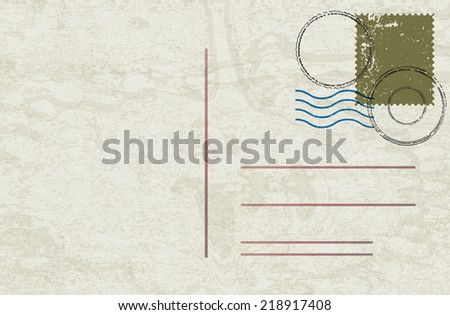 Vintage postcard. Vector illustration.  - stock vector
