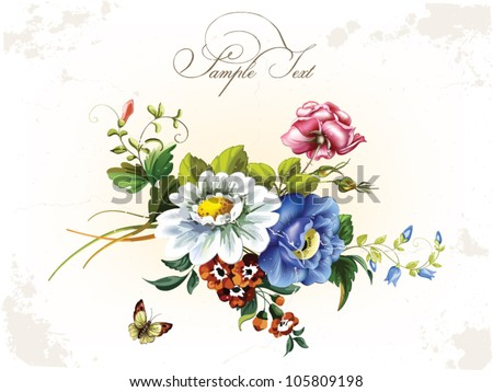 Vintage postcard with beautiful flowers - stock vector