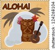 Vintage postcard with Hawaiian elements. eps10 - stock photo
