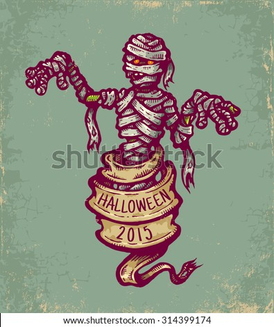 Vintage postcard with mummy and old ribbon for halloween - stock vector
