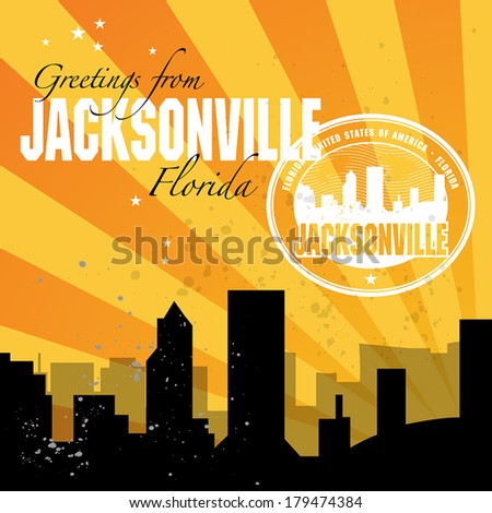 Vintage postcard with name of Florida, Jacksonville, vector illustration - stock vector