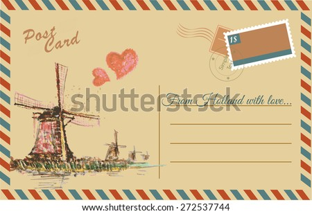 Vintage postcard with Netherlands windmill,watercolor hand drawing,vector - stock vector