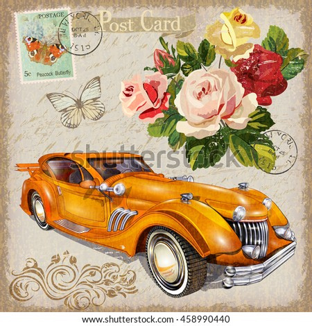 Vintage postcard with retro car and flowers - stock vector