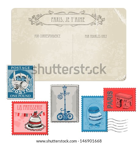 Vintage Postcard with Set of Stamps - Vintage Paris and France - in vector - stock vector