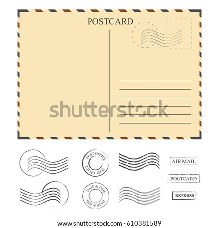 vintage postcard stamps template set stamps stock vector royalty