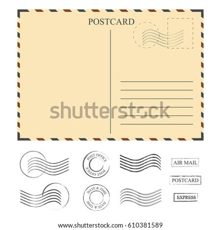 vintage postcard with stamps template set of stamps vector illustration
