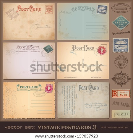 vintage postcards and postage stamps - stock vector