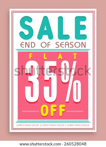Vintage poster, banner or flyer design for End of Season Sale with flat 35% discount offer. - stock vector