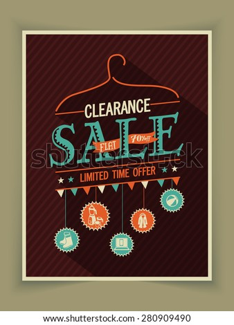 Vintage poster, banner or flyer design of Clearance Sale for limited time offer. - stock vector