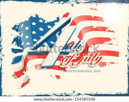 Vintage poster, banner or flyer design with stylish text 4th of July on grungy flag colors background for American Independence Day celebrations. - stock vector