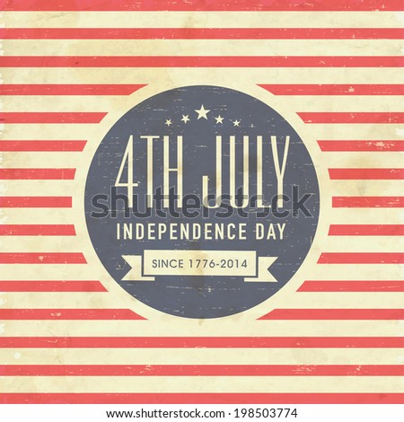 Vintage poster, banner or flyer design with stylish text 4th of July on red and brown stripes background for American Independence Day celebrations.  - stock vector