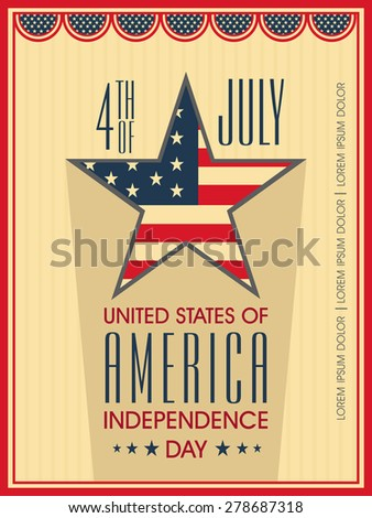 Vintage poster, banner or flyer with star in national flag colors for 4th of July, American Independence Day celebration. - stock vector