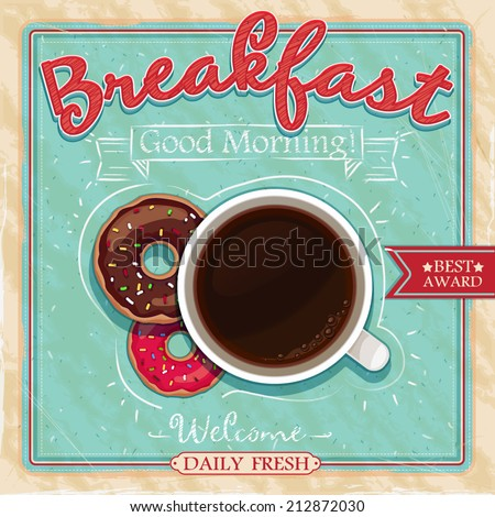 Vintage poster design (coffee, cakes) vector - stock vector