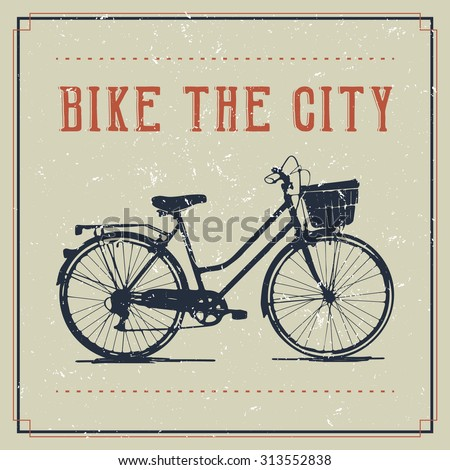 Vintage poster design with bicycle - stock vector