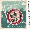 Vintage poster for Japanese restaurant. Retro vector background with sushi rolls. - stock vector
