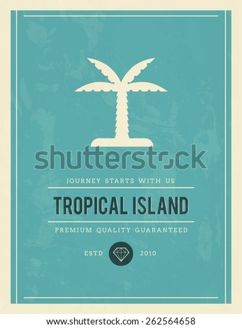 vintage poster for tropical island, vector illustration