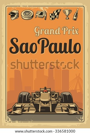 Vintage poster Grand Prix Sao Paulo. Set symbols racing sport car, cup, helmet, finish flag, wheel, champagne. Vector illustration for poster, logotype, web with old paper texture background - stock vector