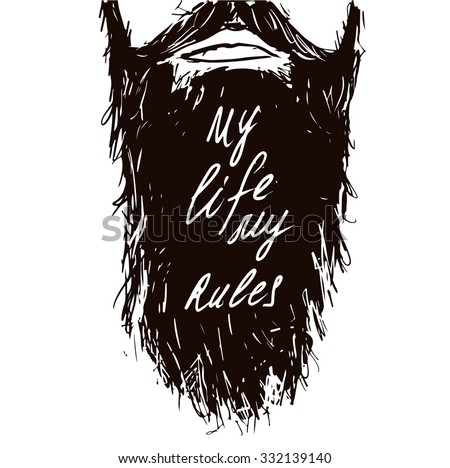 Vintage poster My life my rules- unique hand drawn lettering. T-shirt, bag design, poster, greeting card illustration. Vector typography. - stock vector
