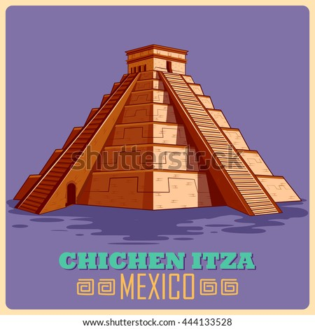 Vintage poster of Chichen Itza in Mayan, famous monument of Mexico. Vector illustration - stock vector