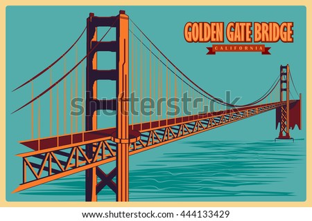 Vintage Poster Golden Gate Bridge California Stock Vector