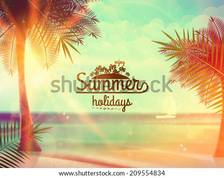 Vintage poster of tropical beach. EPS10 - stock vector