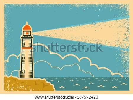 Vintage Poster with Lighthouse.Vector background on old paper texture - stock vector