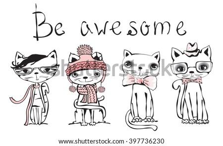 Stylish Cat vintage poster stylish cat vector trendy stock vector 397736242