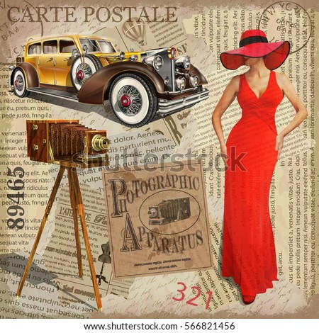 vintage poster vintage camera pretty women stock vector. Black Bedroom Furniture Sets. Home Design Ideas
