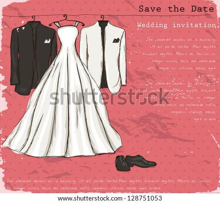 Vintage poster with with a wedding dress and tuxedo. Vector illustration EPS8