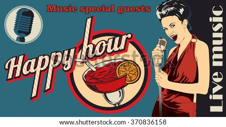 Vintage poster with woman singer and cocktail - stock vector