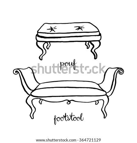Vintage Pouf And Footstool Furniture Interior Design Elements Hand Drawn Ink Sketch
