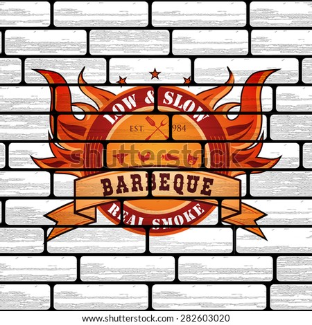 Vintage Premium Barbecue BBQ Graphic logo template on brick background  - stock vector