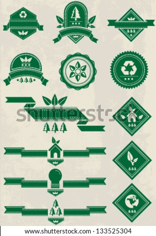 Vintage premium recycle badge banners - stock vector