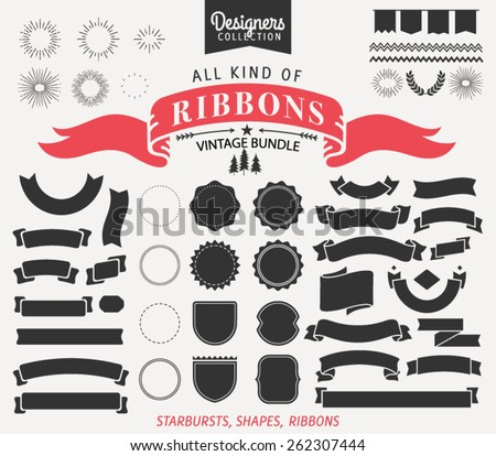 Vintage Premium Styled Ribbons, starbursts and shapes - Designers Collection - stock vector