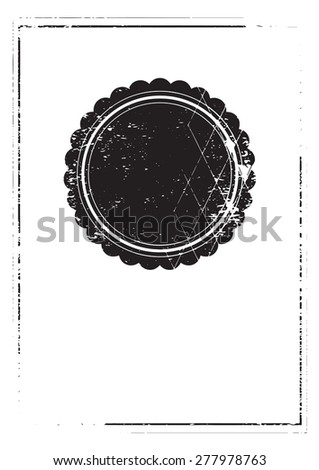 Vintage print. A4 paper. Brochure design.Empty old circle frame isolated on white background. Grunge texture.
