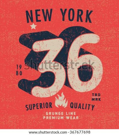 Vintage Print Design in Grunge Style - stock vector