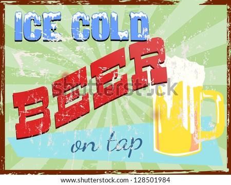 vintage pub / bar / beer sign, vector illustration - stock vector